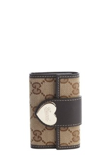 Gucci brown and beige GG canvas snap closure keycase