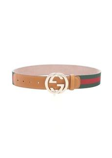 Gucci brown and green web stripe grosgrain logo buckle belt