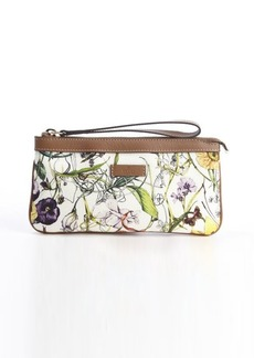 Gucci brown and ivory canvas 'Infinity' floral printed wristlet clutch