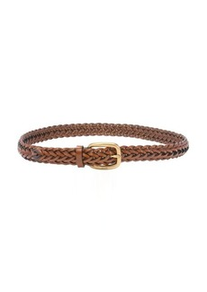 Gucci brown braided leather square buckle belt