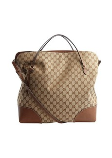 Gucci brown canvas and leather trimmed top handle tote