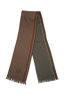 Gucci brown cotton striped accent scarf