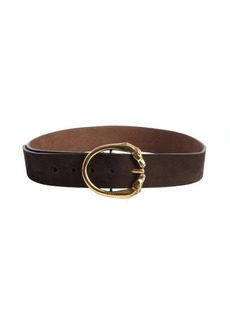 Gucci brown fabric logo engraved horse buckle classic belt