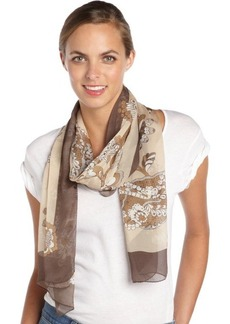 Gucci brown floral printed silk scarf
