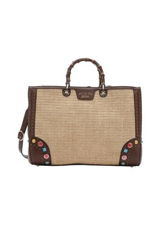 Gucci brown leather and straw bamboo accent convertible shopper tote