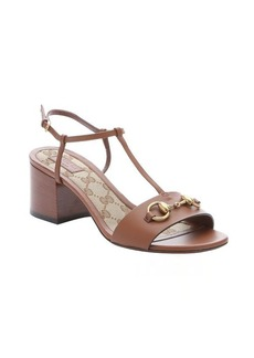 Gucci brown leather horsebit detail t-strap sandals