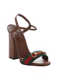 Gucci brown leather horsebit web stripe detail ankle strap sandals