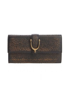 Gucci brown leather stirrup snap continental wallet