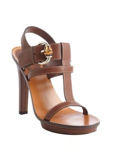 Gucci brown leather t-strap buckle detail heel sandals
