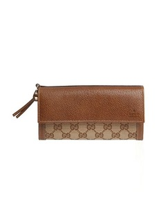 Gucci brown leather trimmed gg canvas 'Bree' continental wallet