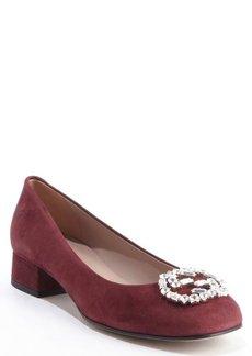 Gucci burgundy suede jewel logo pumps