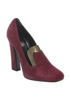 Gucci burgundy suede plate detail heeled loafers