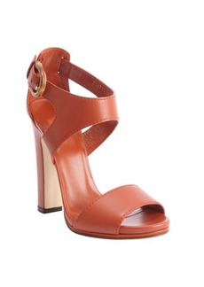 Gucci burnt orange leather bamboo buckle heel sandals