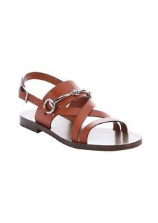 Gucci burnt orange leather horsebit detail strappy sandals