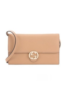Gucci camel leather logo flap convertible wallet