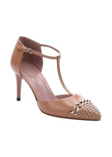 Gucci camelia leather t-strap studded toe pumps