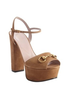 Gucci chocolate suede horsebit platform peep toe sandals