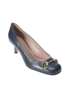 Gucci classic marine leather 'Jolene' horsebit detail kitten pumps
