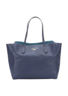 Gucci cobalt and classic marine leather 'Swing' top handle tote
