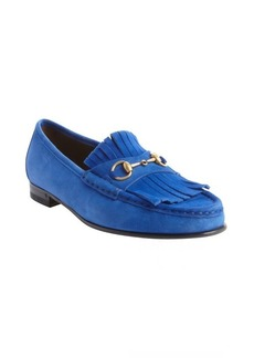 Gucci cobalt blue suede penny buckle strap fringed loafers