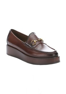 Gucci cocoa leather moc toe horsebit flatform loafers