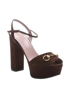Gucci cocoa suede horsebit detail platform peep toe sandals