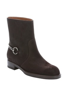 Gucci cocoa suede horsebit mid-ankle boots