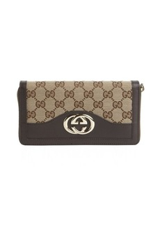 Gucci dark brown GG canvas logo zip continental wallet