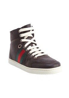 Gucci dark brown leather shearling accent high top sneakers