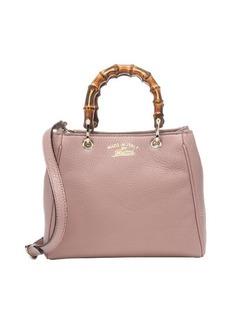 Gucci dark cipria leather mini bamboo top handle bag