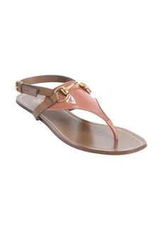 Gucci desert rose and brown horsebit sling back sandals