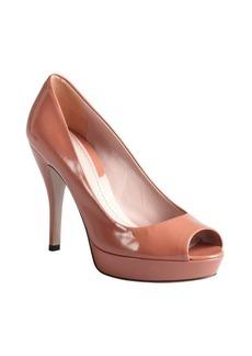 Gucci desert rose patent leather peep toe platform pumps