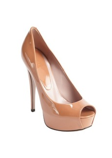 Gucci dusty blush patent leather platform peep toe pumps