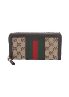 Gucci ebony and beige GG canvas web stripe continental wallet