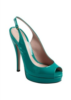 Gucci emerald patent leather peep toe slingback pumps