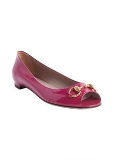 Gucci fucshia leather peep toe flats