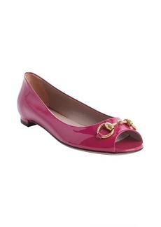 Gucci fucshia leather peep toe flats