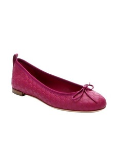 Gucci fuschia leather guccissima ballet flats