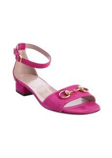 Gucci fushia suede horsebit detail anklestrap sandals