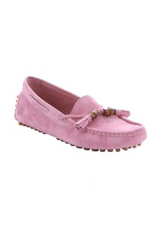 Gucci glossy pink suede bamboo tassel driving loafers
