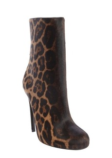 Gucci gold and black leopard print calf hair heel boots