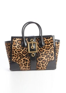 Gucci gold and black printed calf hair buckle front tote