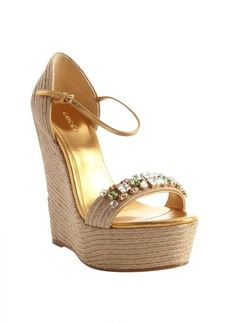 Gucci gold leather and jute jewel detail wedge heel sandals