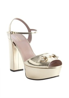 Gucci gold leather horsebit detail platform peep toe pumps