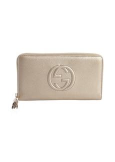 Gucci golden beige leather GG zip travel wallet