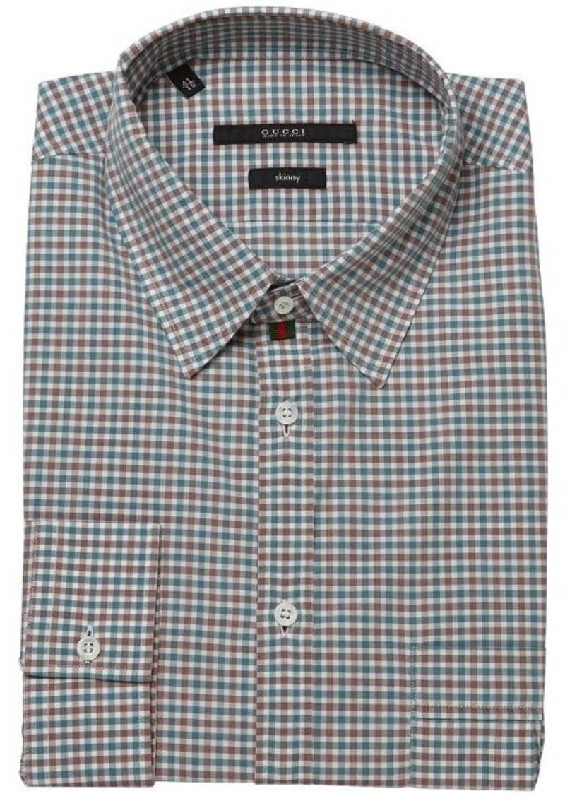Gucci gucci green and red and white gingham check cotton for Red and green checked shirt