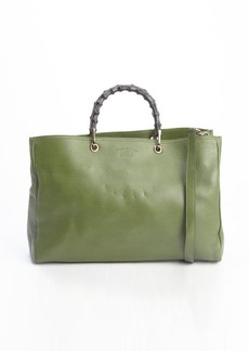 Gucci green leather bamboo handle convertible tote