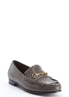Gucci grey field patent leather tassel detail loafers