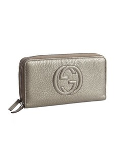 Gucci grey leather GG double zip continental wallet