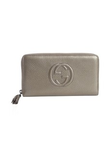 Gucci grey leather GG zip travel wallet